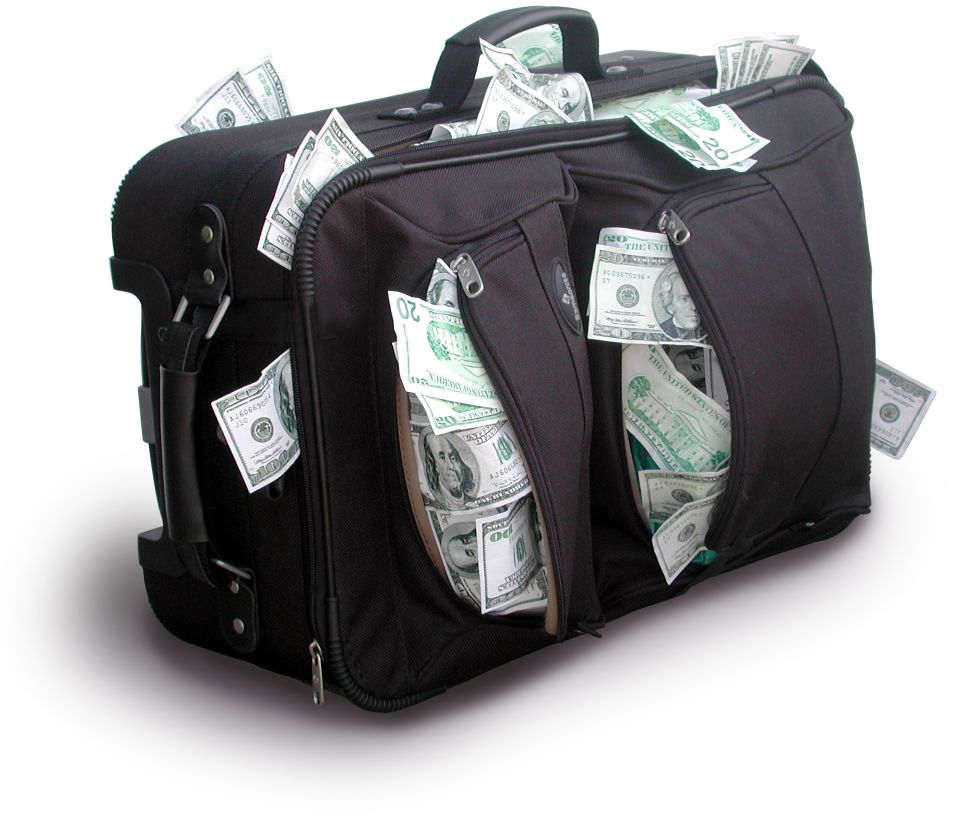Kufr peněz - peníze - USD