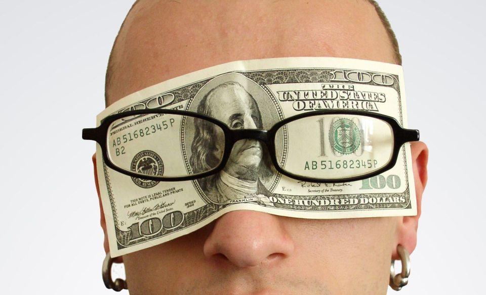 Peníze - americký dolar - USD - brýle