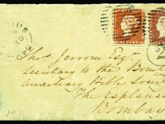 Bombay Cover - dopis se 2 červenými mauritii